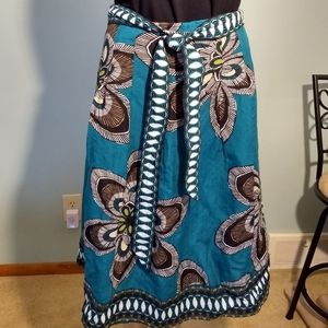 Black & Gray Flowers on Teal Skirt Size 8